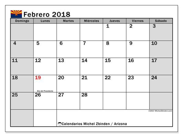 Calendario febrero 2018, con los días feriados en Arizona. Calendario mensual para imprimir gratis.