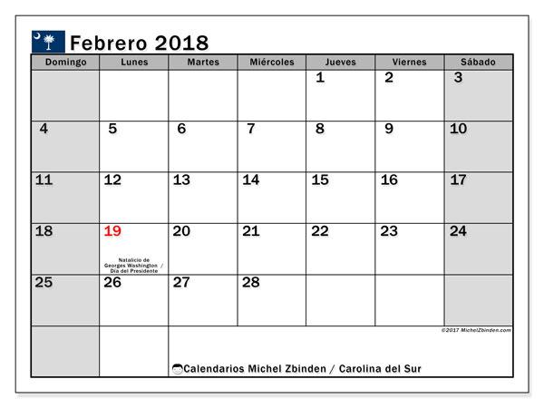 Calendario febrero 2018, con los días feriados en Carolina del Sur. Calendario mensual para imprimir gratis.