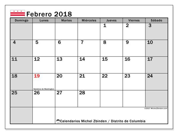 Calendario febrero 2018, con los días feriados del Distrito de Columbia. Calendario imprimible gratis.