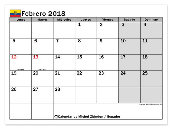 Calendario febrero 2018, con los días feriados para Ecuador. Almanaque para imprimir gratis.