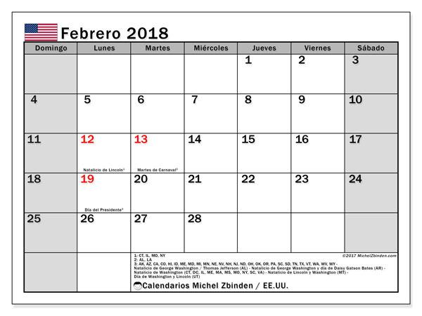 Calendario febrero 2018, con los días feriados en EE.UU.. Calendario imprimible gratis.