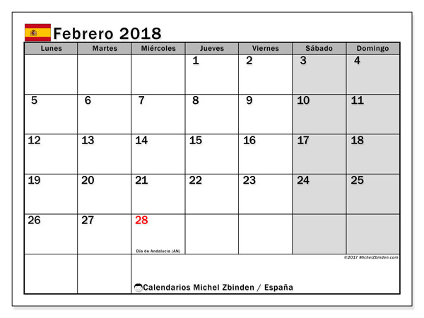 Calendario febrero 2018, con los días festivos de España. Calendario imprimible gratis.