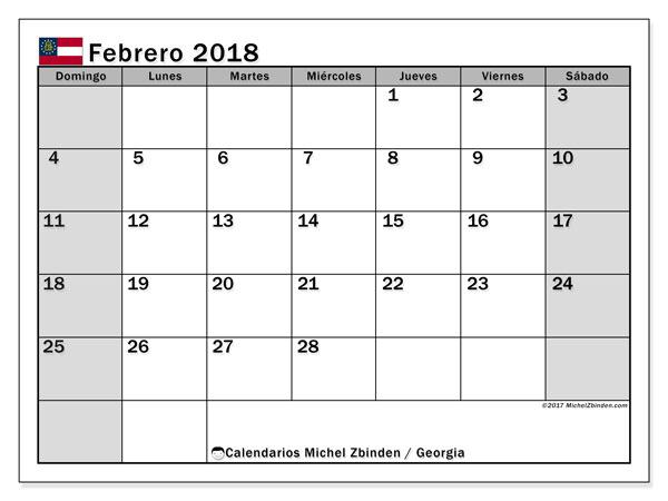 Calendario febrero 2018, con los días feriados de Georgia. Calendario para imprimir gratis.