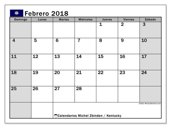 Calendario febrero 2018, con los días feriados en Kentucky. Almanaque para imprimir gratis.