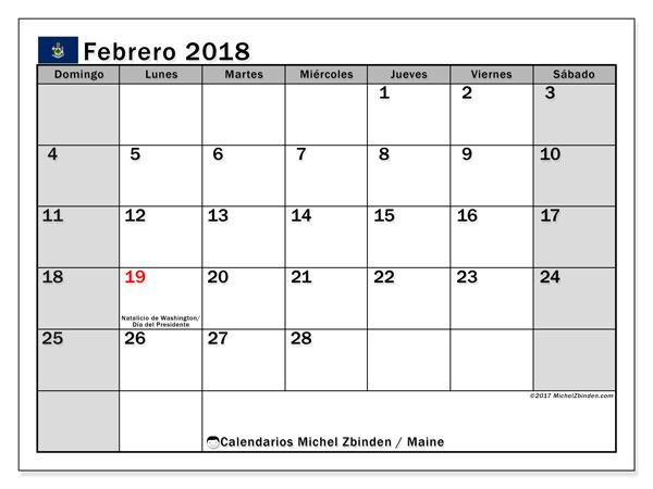 Calendario febrero 2018, con los días feriados en Maine. Calendario gratuito para imprimir.