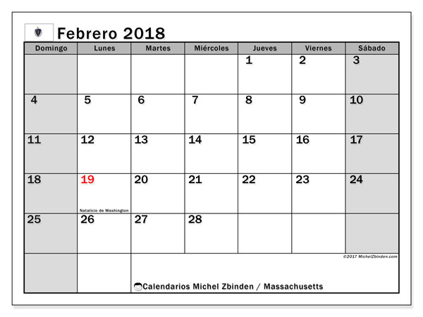 Calendario Massachusetts, febrero 2018