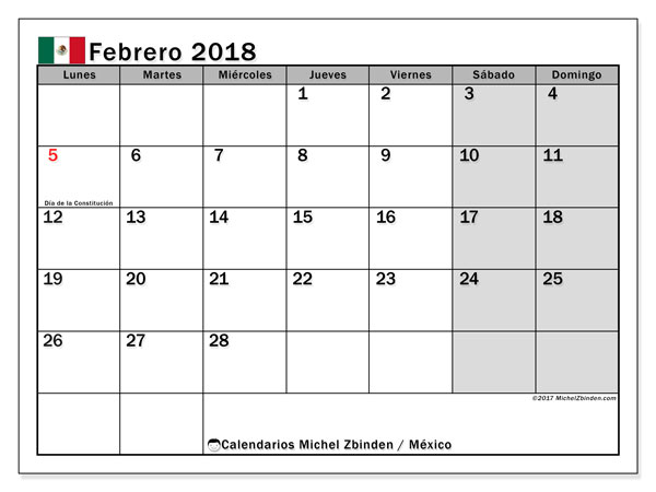 Calendario febrero 2018, con los días feriados en México. Calendario mensual para imprimir gratis.