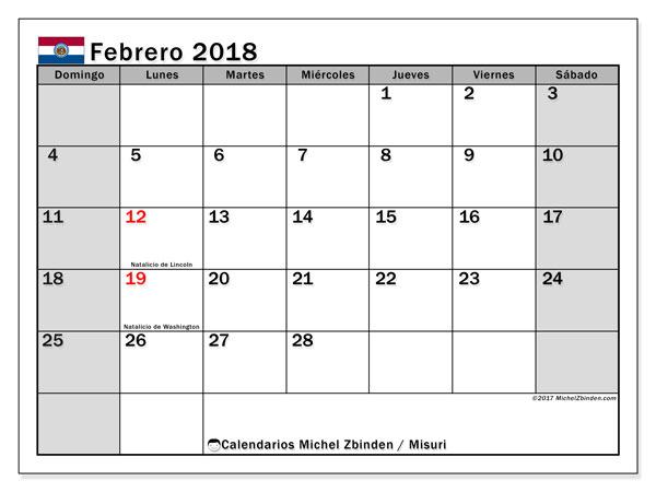 Calendario febrero 2018, con los días feriados de Misuri. Calendario para el mes para imprimir gratis.