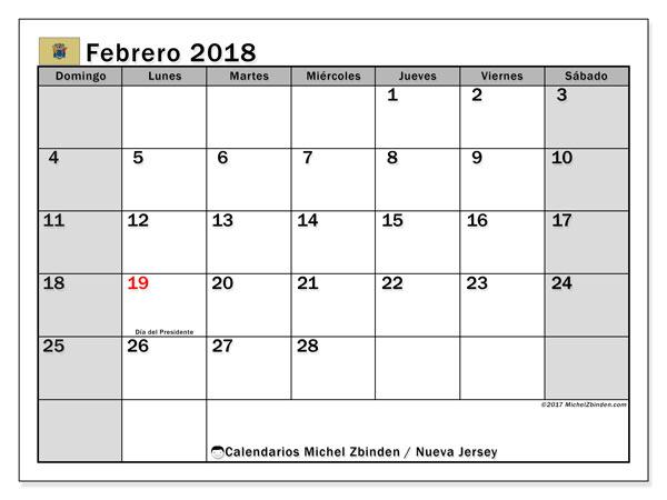 Calendario febrero 2018, con los días feriados de Nueva Jersey. Calendario para imprimir gratis.