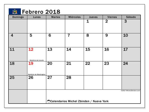 Calendario febrero 2018, con los días feriados de Nueva York. Calendario para imprimir gratis.