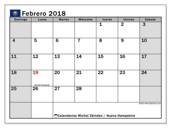 Calendario febrero 2018, con los días feriados de Nuevo Hampshire. Calendario gratuito para imprimir.