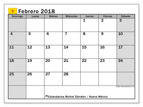 Calendario febrero 2018, con los días feriados en Nuevo México. Calendario mensual para imprimir gratis.