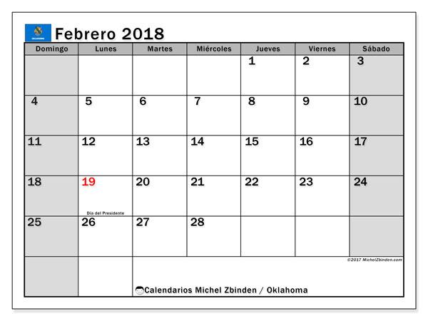 Calendario febrero 2018, con los días feriados de Oklahoma. Calendario mensual para imprimir gratis.