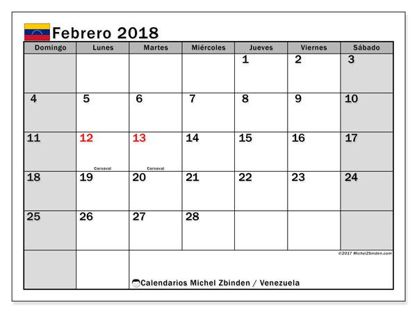Calendario febrero 2018, con los días feriados para Venezuela. Almanaque para imprimir gratis.