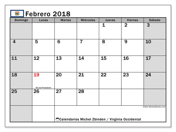 Calendario febrero 2018, con los días feriados de Virginia Occidental. Calendario gratuito para imprimir.
