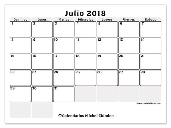 Calendario  julio de 2018, 44DS