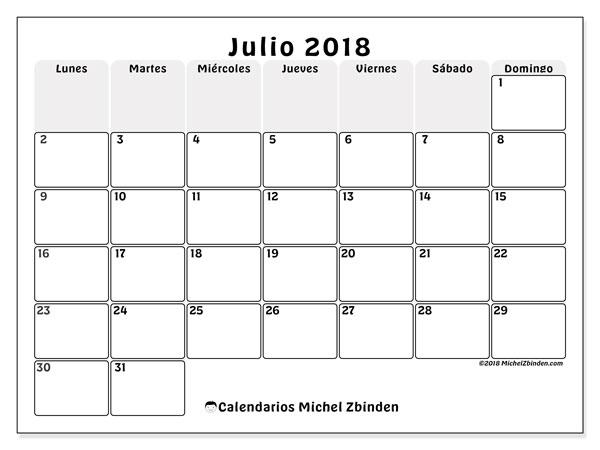 Calendario Mes De Julio.Calendarios Julio 2018 Ld Michel Zbinden Es