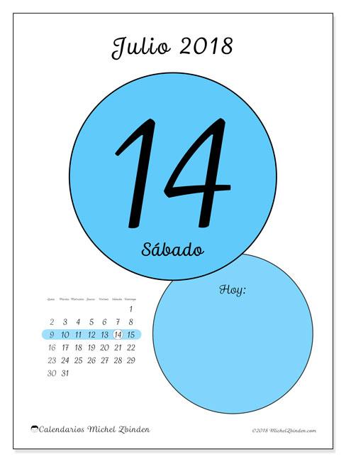 Calendario julio 2018 (45-14LD). Calendario para el día para imprimir gratis.