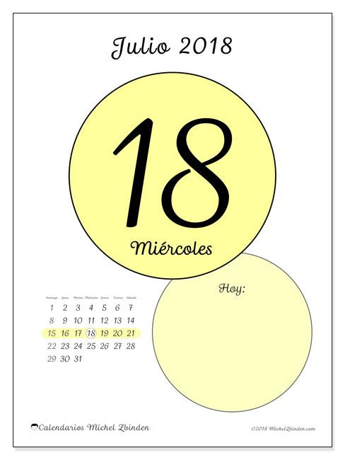 Calendario julio 2018 (45-18DS). Calendario para el día para imprimir gratis.