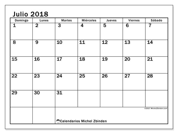 Calendario  julio de 2018, 50DS