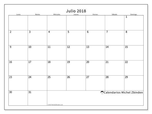 Calendario julio 2018 (53LD). Calendario mensual para imprimir gratis.