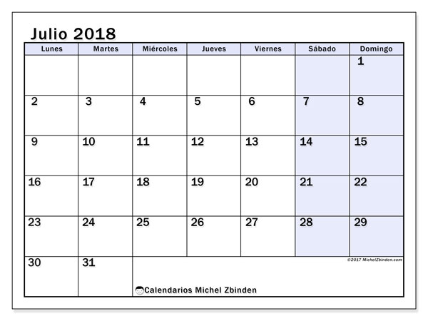Calendario julio 2018 (57LD). Calendario imprimible gratis.