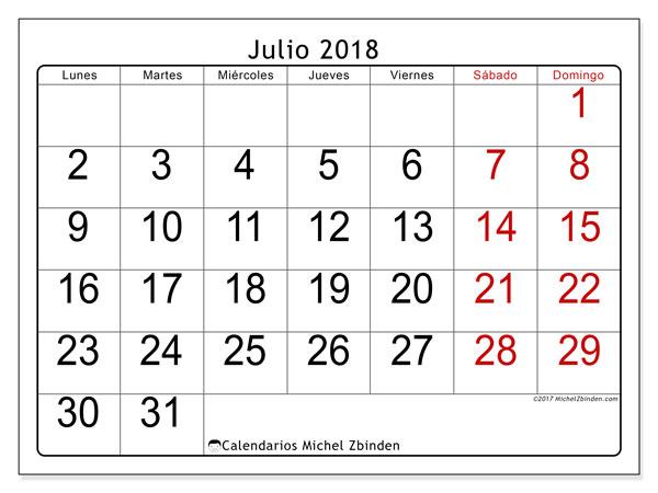 Julio Calendario.Calendarios Julio 2018 Ld Michel Zbinden Es