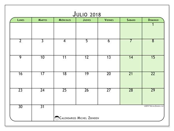 Calendario julio 2018 (65LD). Calendario imprimible gratis.