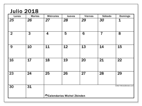 Calendario julio 2018 (66LD). Calendario imprimible gratis.