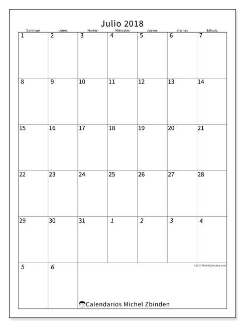 Calendario  julio de 2018, 68DS