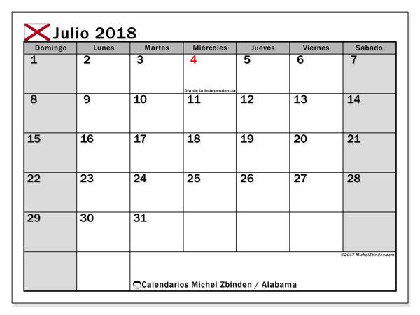 Calendario julio 2018, con los días feriados en Alabama. Calendario gratuito para imprimir.