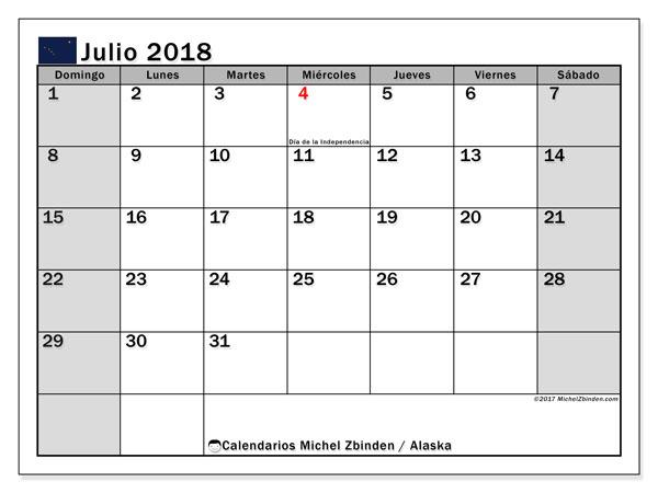 Calendario julio 2018, con los días feriados en Alaska. Calendario mensual para imprimir gratis.