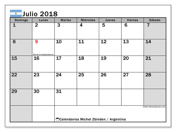 Calendario julio 2018, con los días feriados en Argentina. Calendario para imprimir gratis.