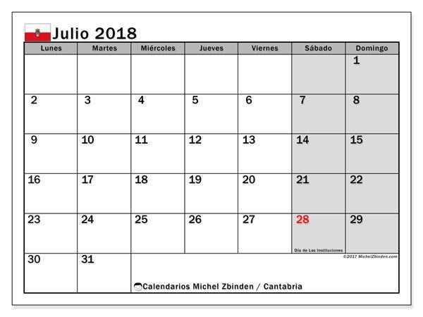 Calendario julio 2018, con los días festivos de Cantabria. Planificación para imprimir gratis.