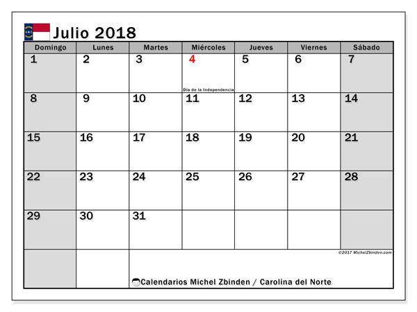 Calendario julio 2018, con los días feriados en Carolina del Norte. Calendario gratuito para imprimir.