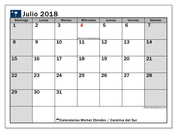 Calendario julio 2018, con los días feriados en Carolina del Sur. Almanaque para imprimir gratis.