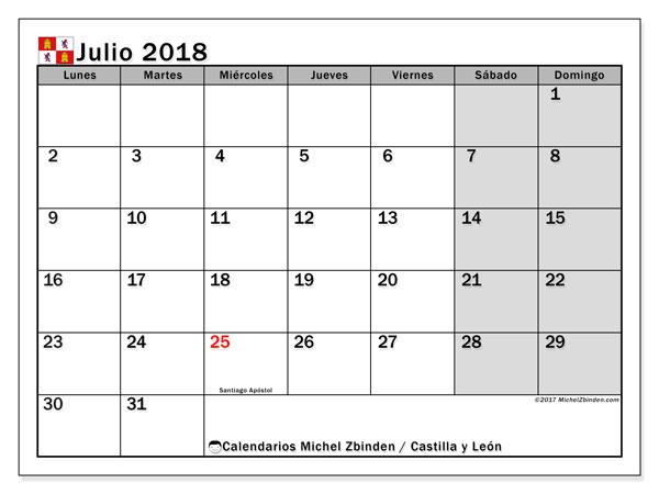 Calendario julio 2018, con los días festivos de Castilla y León. Calendario mensual para imprimir gratis.
