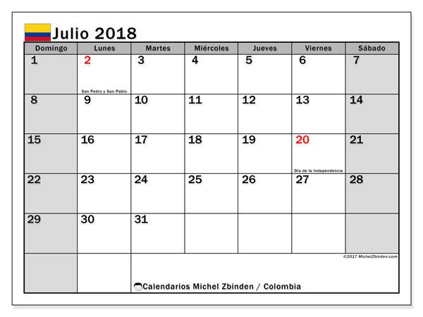 Calendario julio 2018, con los días festivos en Colombia. Almanaque para imprimir gratis.