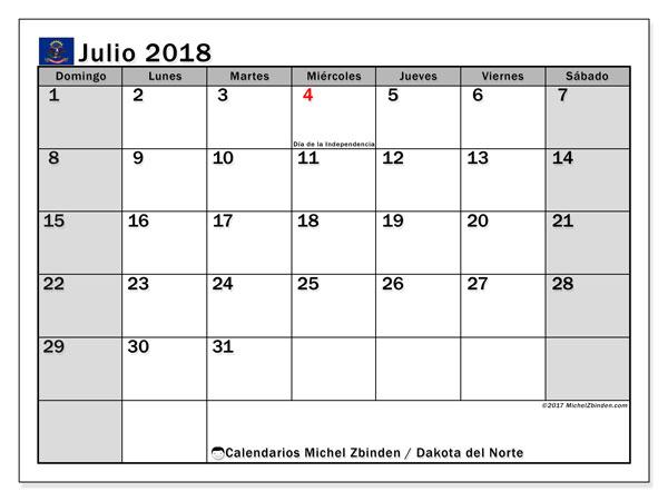 Calendario julio 2018, con los días feriados en Dakota del Norte. Calendario para el mes para imprimir gratis.