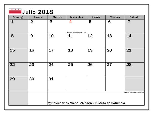 Calendario julio 2018, con los días feriados del Distrito de Columbia. Planificación para imprimir gratis.