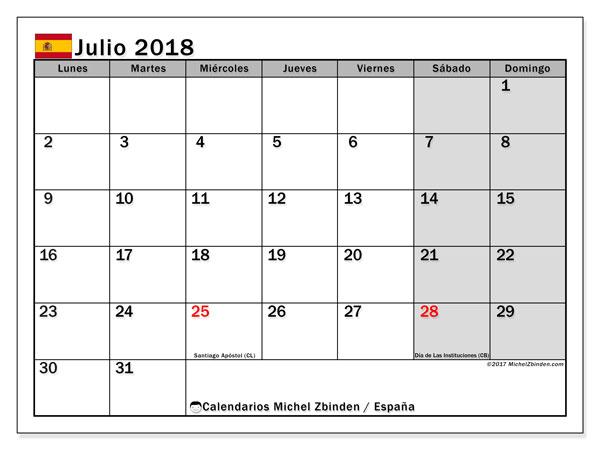 Calendario julio 2018, con los días festivos de España. Almanaque para imprimir gratis.