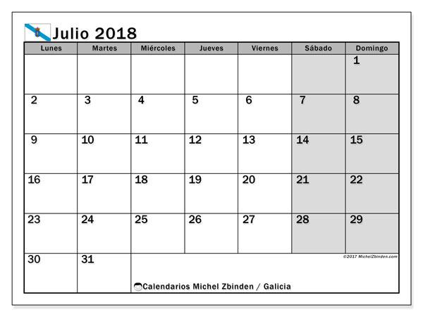 Calendario julio 2018, con los días festivos en Galicia. Calendario imprimible gratis.
