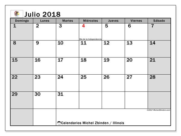 Calendario julio 2018, con los días feriados en Illinois. Calendario imprimible gratis.