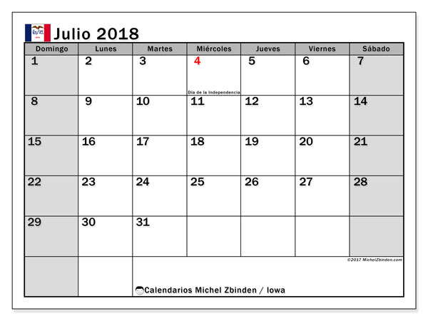 Calendario julio 2018, con los días feriados en Iowa. Calendario imprimible gratis.