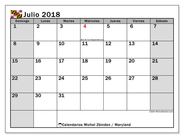 Calendario julio 2018, con los días feriados en Maryland. Calendario para el mes para imprimir gratis.