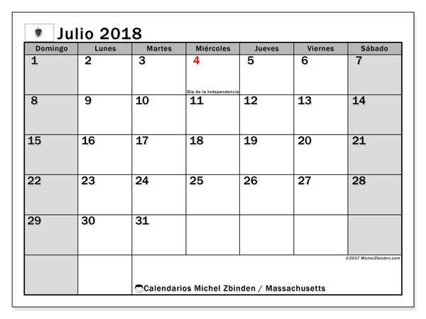 Calendario julio 2018, con los días feriados en Massachusetts. Planificación para imprimir gratis.
