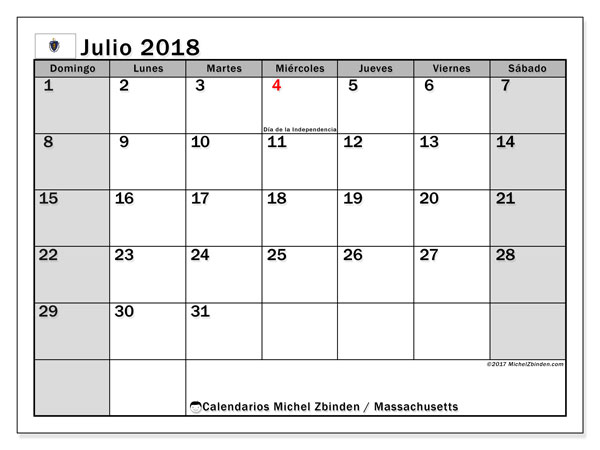 Calendario julio 2018, con los días feriados en Massachusetts. Calendario gratuito para imprimir.