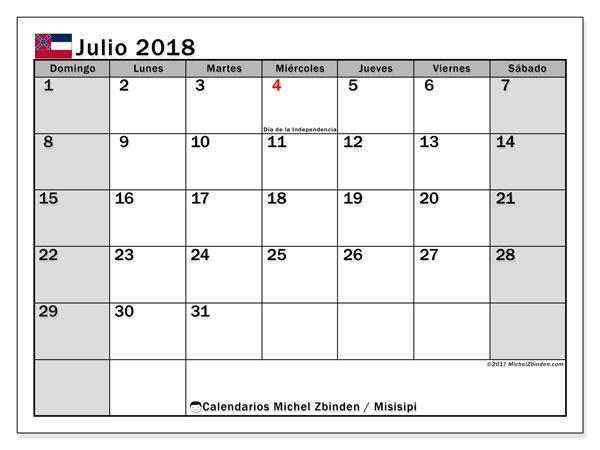 Calendario julio 2018, con los días feriados de Misisipi. Almanaque para imprimir gratis.