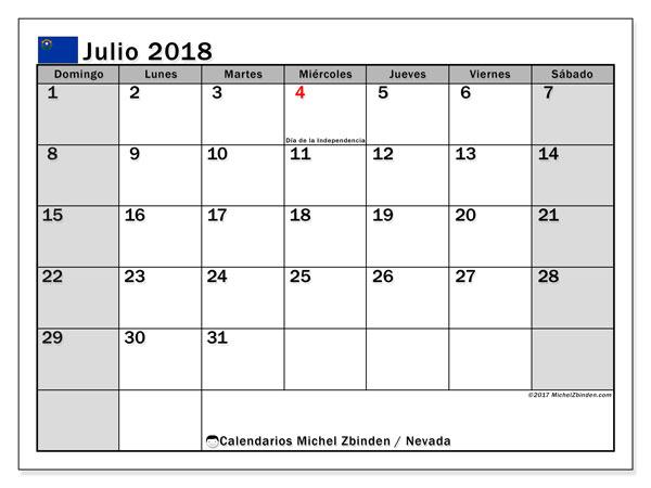 Calendario julio 2018, con los días feriados en Nevada. Almanaque para imprimir gratis.