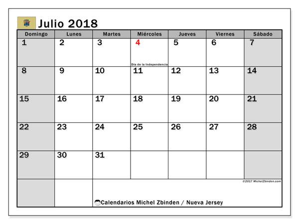 Calendario julio 2018, con los días feriados de Nueva Jersey. Calendario para imprimir gratis.